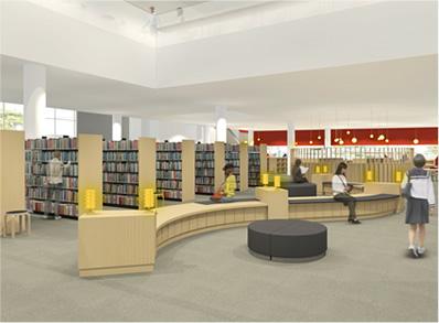 酒田市立中央図書館館内のイメージ画像